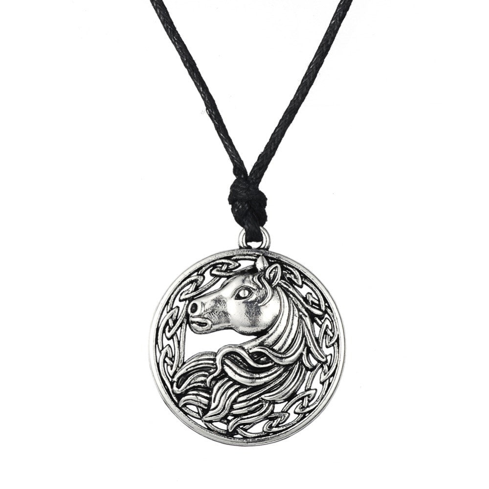 Round Horse Pendant Necklace