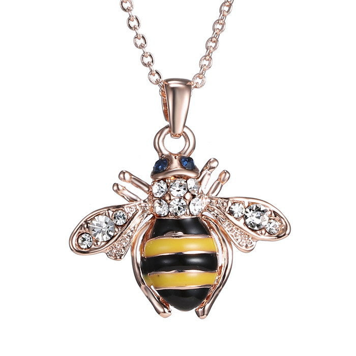 Bee Rose Pendant Necklace