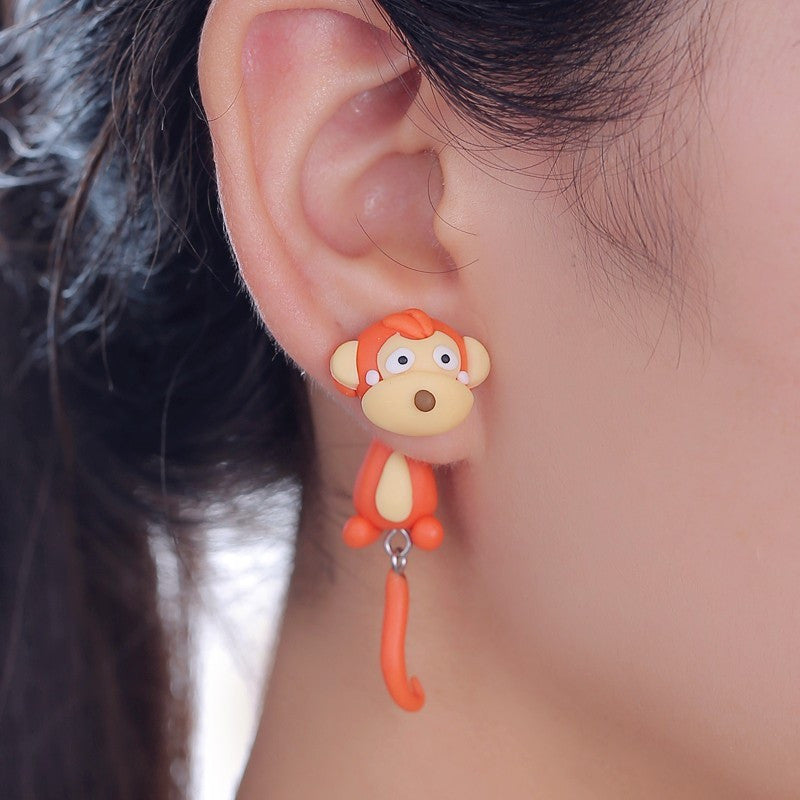 Handmade 3D Polymer Clay Monkey Stud Earrings
