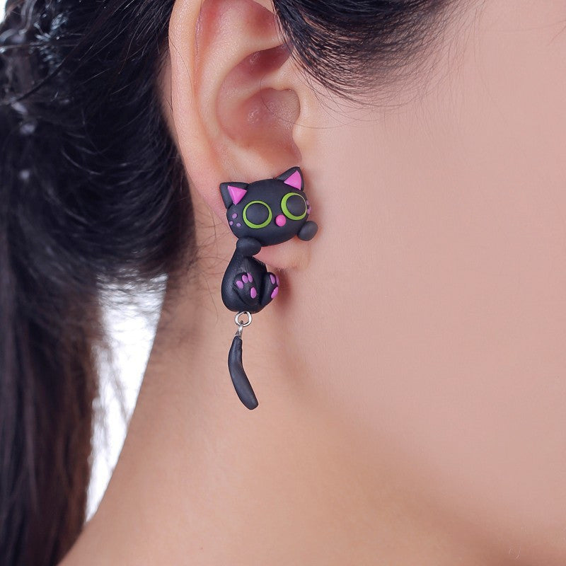 3D Black Green Eyes Cat Stud Earrings