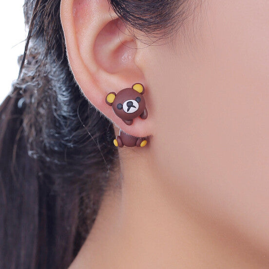 3D Lovely Bear Stud Earrings