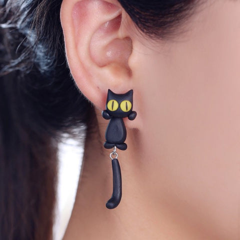 3D Yellow Eyes Cat Stud Earrings