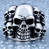 Biker Lots Of Skull Ring