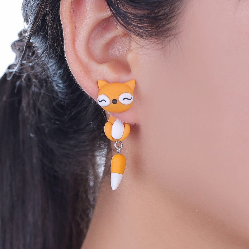 3D Lovely Fox Stud Earrings