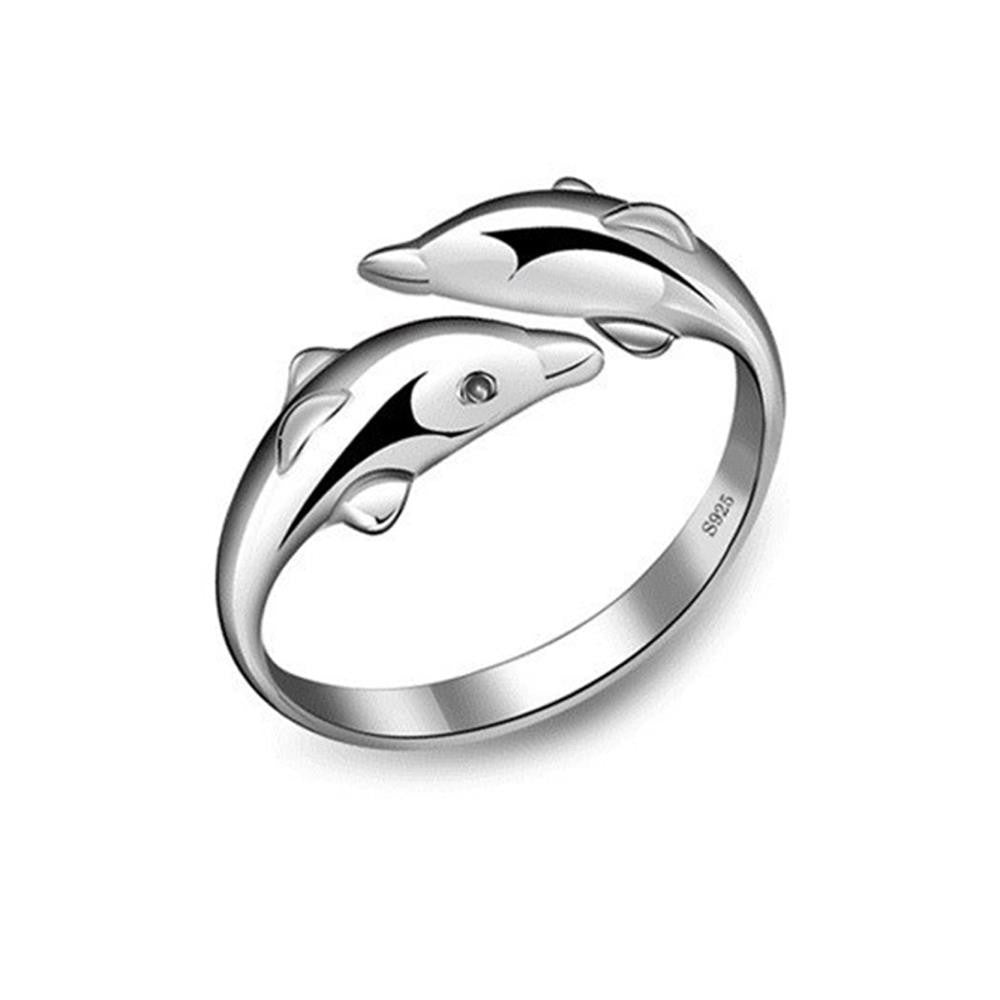 Double Dolphin Ring (Silver Plated)