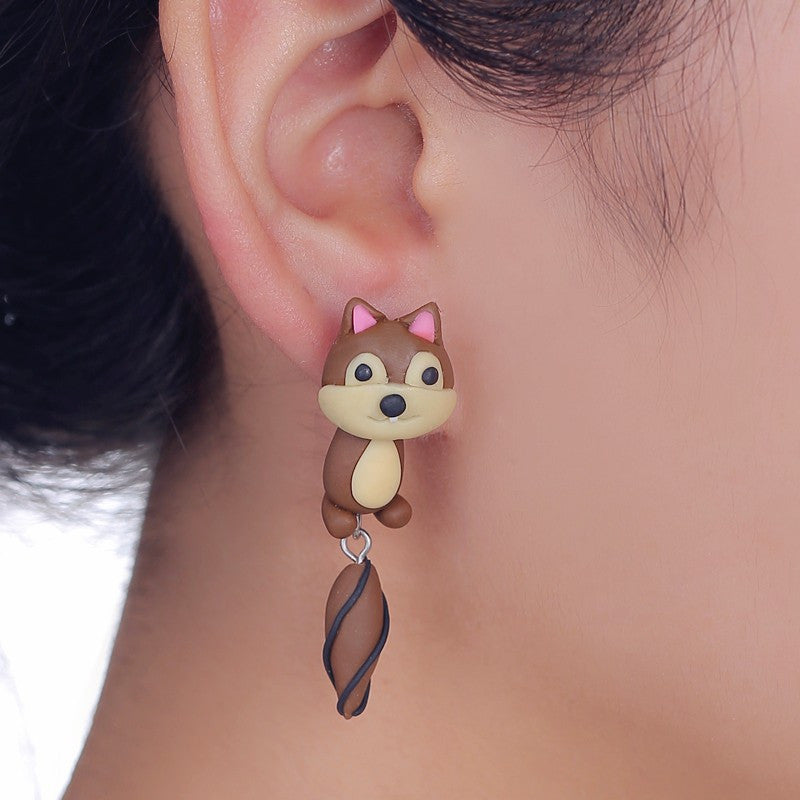 3D Squirrel Stud Earrings