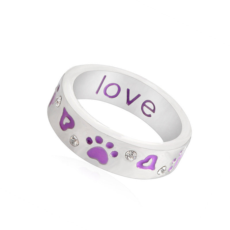 Pameng Dog Heart Love Crystal Cuff Ring