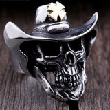 Cross Hat Skull Ring