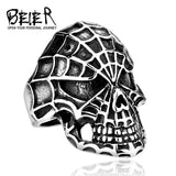 Black Skull Spiderman Ring
