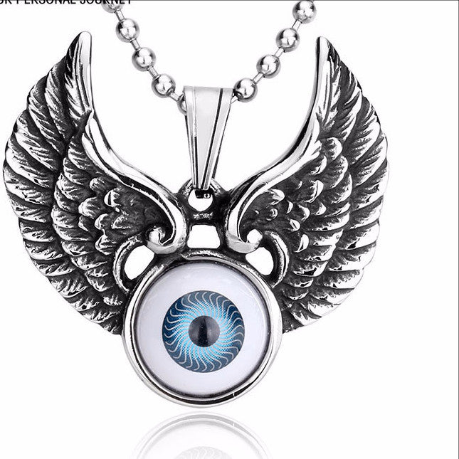 Blue Acrylic Eye Big Vintage Charm Wing Pendant Necklace