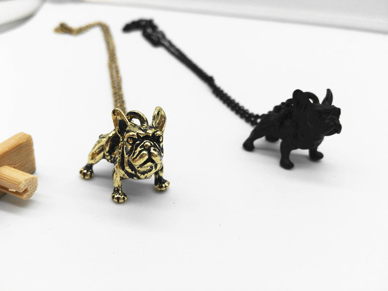 French 3D Bull Dog Charm Necklace
