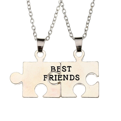 Best Friend Lovers Couple Puzzle Design Stainless Steel Necklace