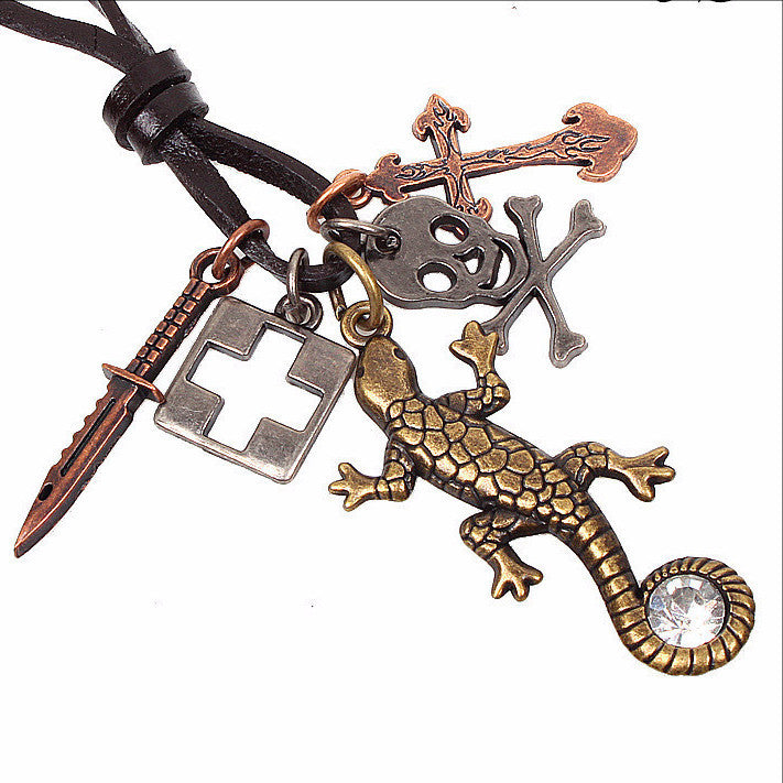 JS Lizard Pendant Necklace
