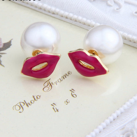 Pameng Hot Red Pink Lips Imitation pearl Stud Earrings