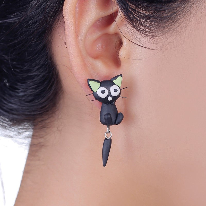 3D White Eyes Black Cat Stud Earrings