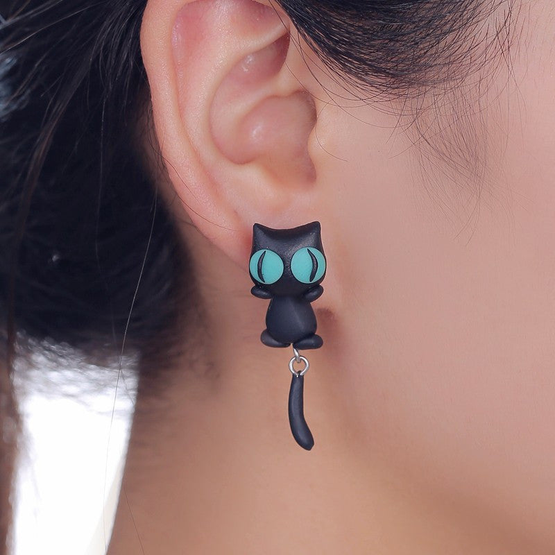 3D Lovely Black Cat Stud Earrings