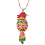 Bonsny Parrot Bird Pendant Necklace