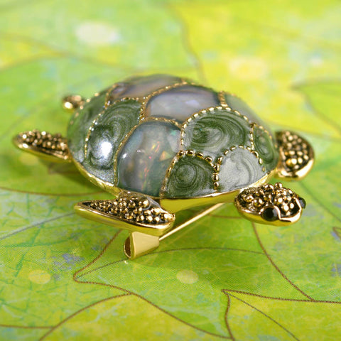 Turtle Enamel Brooches