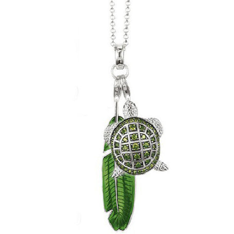 Turtle And Leaf Necklace