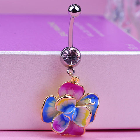 Colorful Rose Flower Piercing (Belly Button Ring)