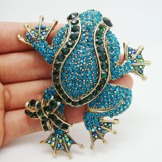 Blue Frog Brooch Pin