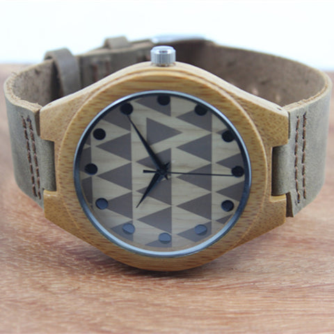 Resin Wooden Men's Watch Round Quartz Leather Analog