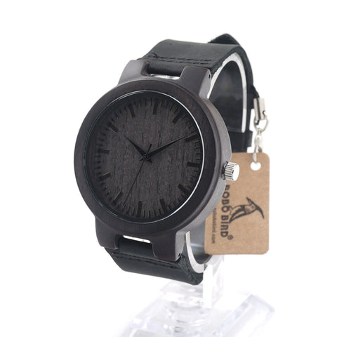 Men's Wooden Bamboo Watch With Real Leather