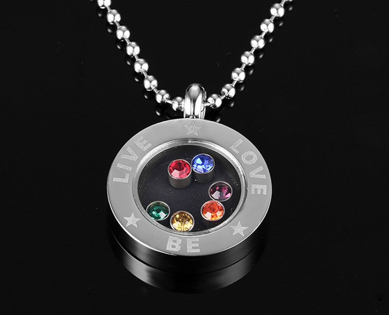 Live & Love Rainbow Floating Locket Necklace