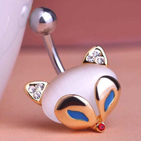 Cat Eye Fire Fox Piercing (Belly Button Ring)