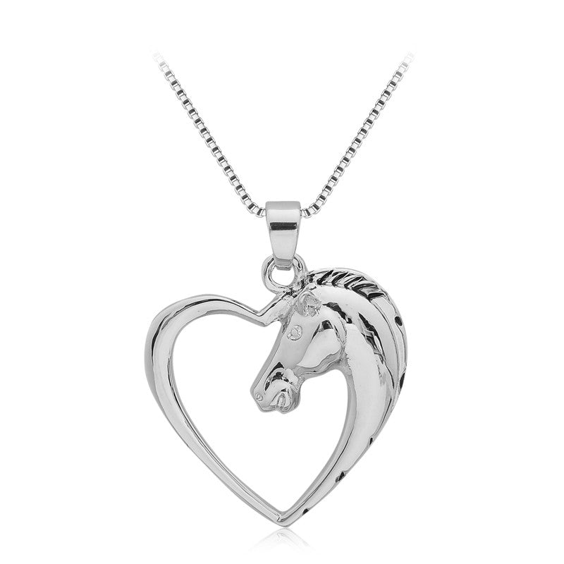 Hollow Heart Horse Pendant Necklace (Silver Plated)