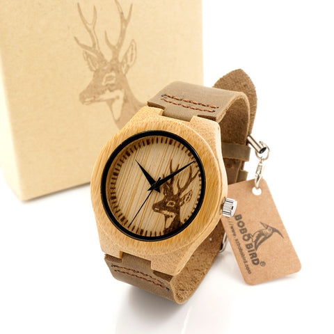 Natural Bamboo Wooden Watch with Genuine Brown Leather Strap