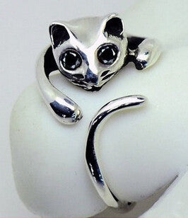Silver Cat Ring with Rhinestone Eyes - Adjustable Size