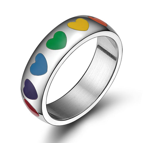 Rainbow Heart Ring in Stainless Steel