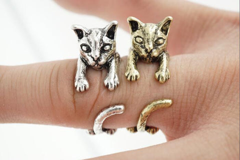 Realistic Cat Ring in Silver and Bronze