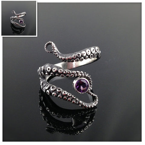 Tentacle Ring In Octopus Design - Silver Plated and Adjustable in Size