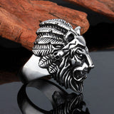 Titanium Steel Lion Head Ring