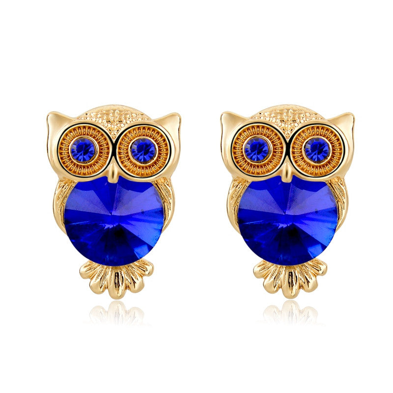 Crystal Owl Stud Earrings (18k Gold Plated)