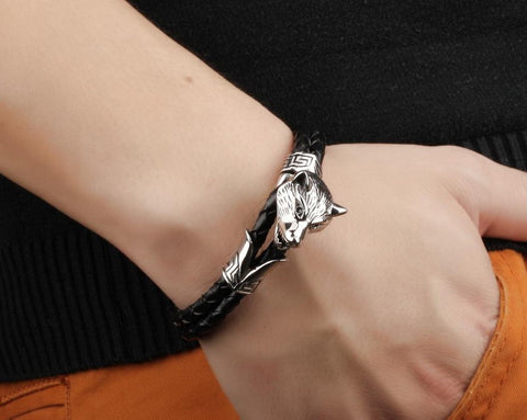 Wolf Head Leather Rope Bracelet