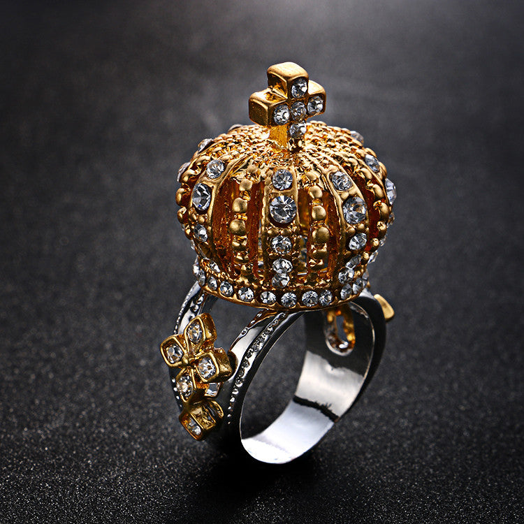 Rhinestone Crown Ring