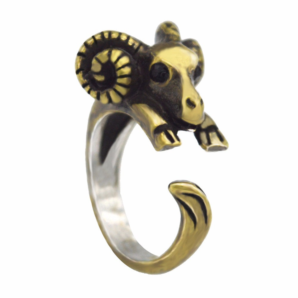 Retro Ram Ring in Silver And Bronze