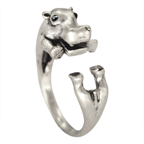 Antique Hippo Ring in Silver (Retro Design)