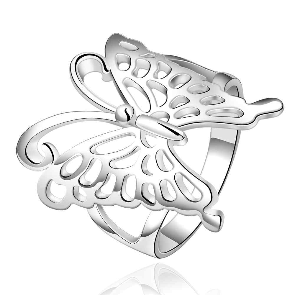 Big Butterfly Ring Silver Plated
