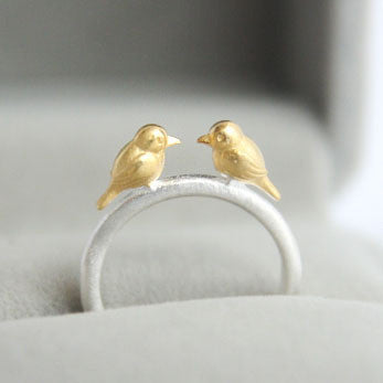 Love Birds Ring in 925 Sterling Silver
