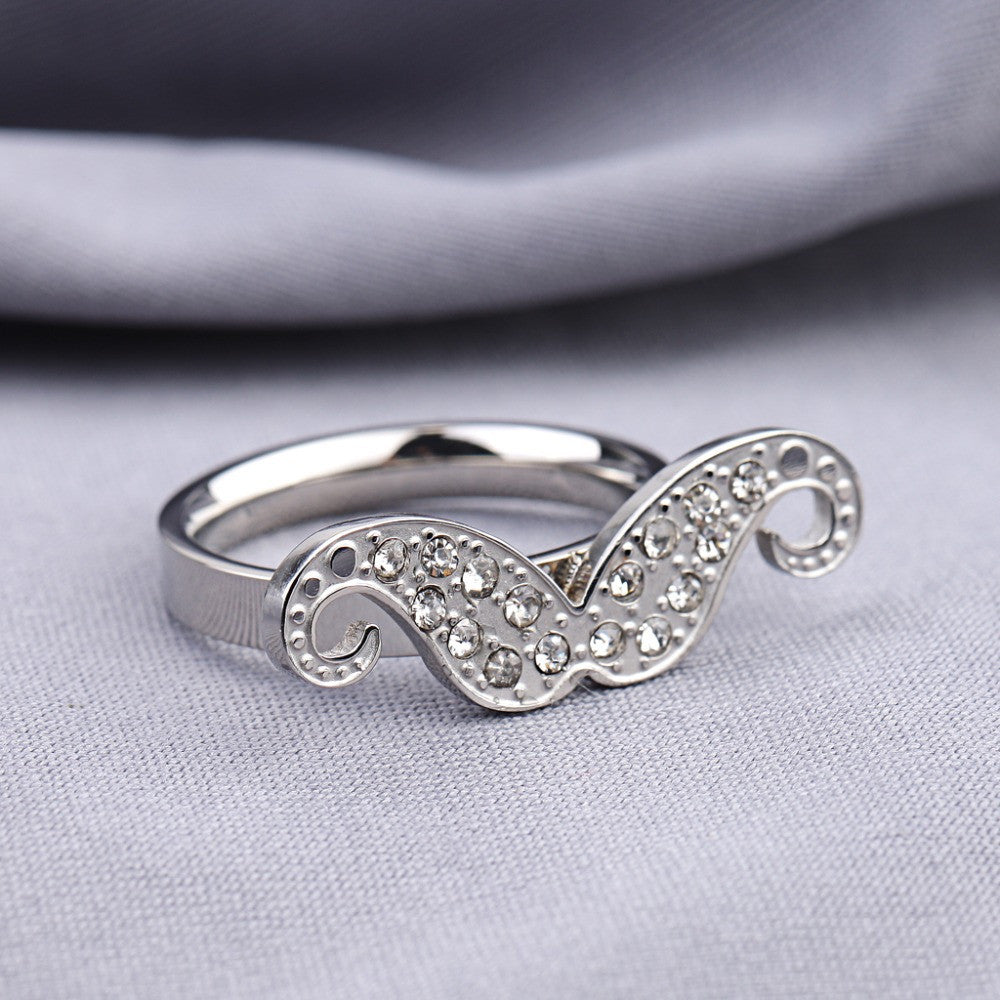 Mustache Ring in Gold and Silver