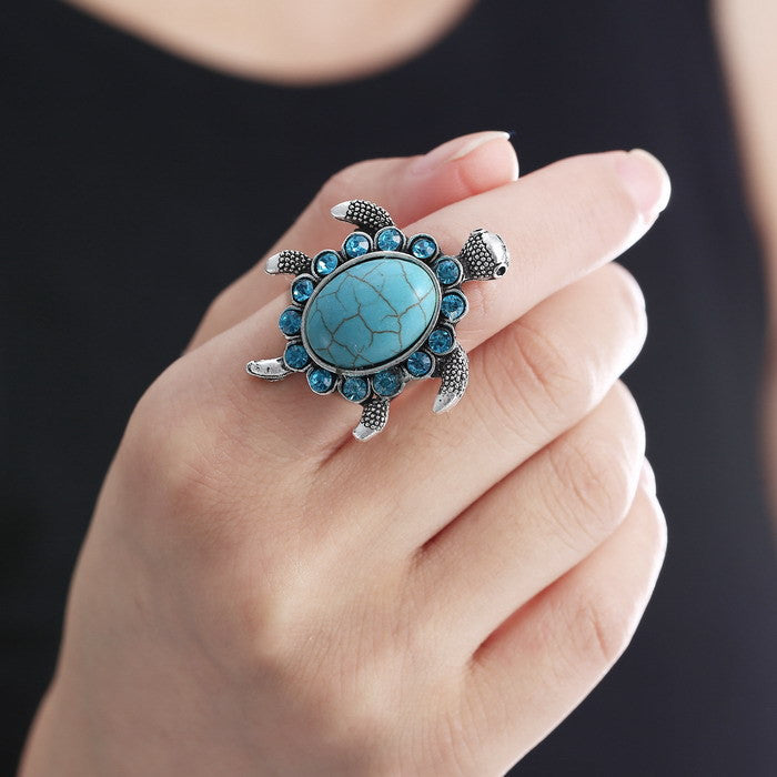 Blue Turquoise Tortoise Ring - Adjustable and silver plated