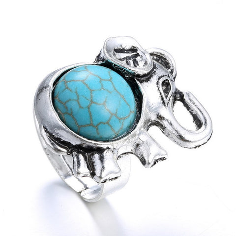 Cute Turquoise Elephant in Silver - Adjustable Ring