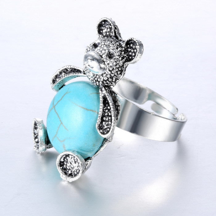 Cute Turquoise Bear Ring - Silver Plated Tibet Design