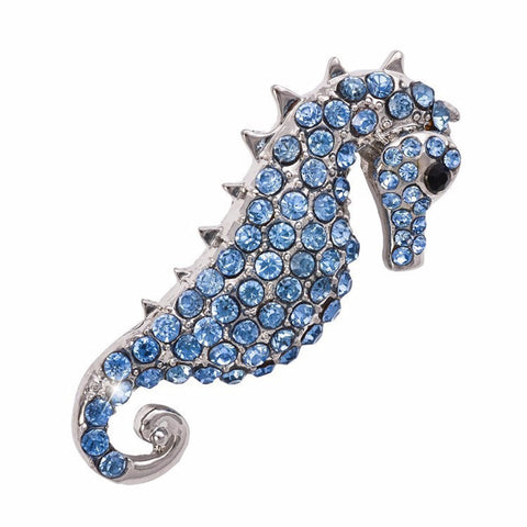 Blue Sea Horse Brooch Pin