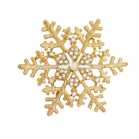 Gold Snowflake Brooch Pin