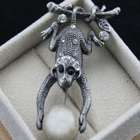 Crystal Monkeys Brooch Pin